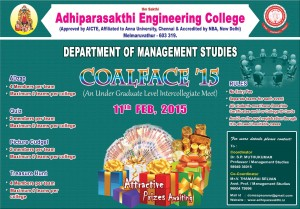 COALFACE' 2015 (An Under Graduate Level Intercollegiate Meet) on 11-02-15 @ DEPARTMENT OF MANAGEMENT STUDIES